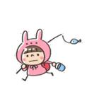 うさズキン(ピンク)(個別スタンプ:01)