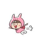 うさズキン(ピンク)(個別スタンプ:02)