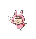 うさズキン(ピンク)(個別スタンプ:03)
