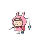 うさズキン(ピンク)(個別スタンプ:05)