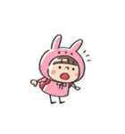 うさズキン(ピンク)(個別スタンプ:16)