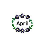 お花のリース*月齢*曜日*英語編集(個別スタンプ:04)