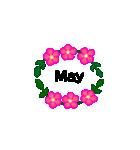 お花のリース*月齢*曜日*英語編集(個別スタンプ:05)