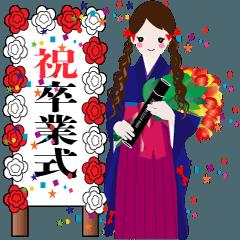 赤いリボンの女の子 卒業式 袴バージョン