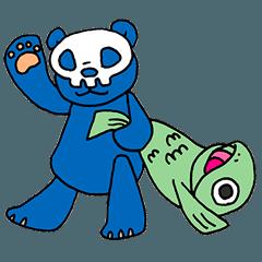 ガイコツ仮面くまとミドリ魚