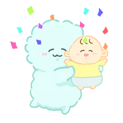 かわいいもふもふと赤ちゃん