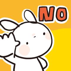 [LINEスタンプ] シンプルうさ、断る! (1)