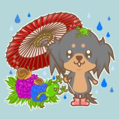 可愛いダックス犬スタンプ夏用
