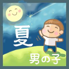 [LINEスタンプ] 幼い男の子 夏version
