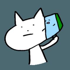 青いスポンジ と 白いねこ