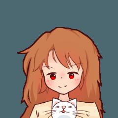 少女と猫のスタンプ