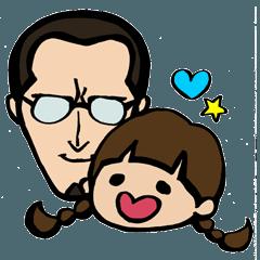 父と娘のスタンプ
