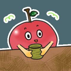 動く赤いリンゴのスタンプ