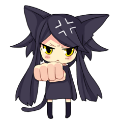 [LINEスタンプ] 黒い猫耳娘ちゃん (1)