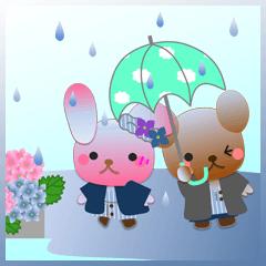 うさぎとくまの日々(梅雨3)