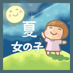 [LINEスタンプ] 幼い女の子 夏version