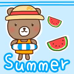 [LINEスタンプ] ほんわかクマの二郎|夏ver. (1)