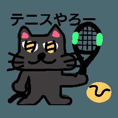 ミカンと黒猫ゴエちゃんのテニス4