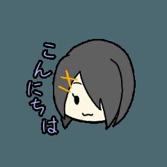片目女子スタンプ