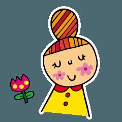 まん丸おだんごヘアの女の子
