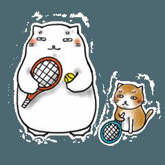 太っちょ猫がテニスをたしなむスタンプ