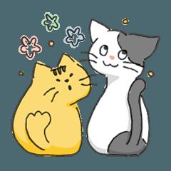 茶トラと白キジのネコ2匹