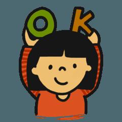 幼稚園保育園小学校の女の子ママ用スタンプ