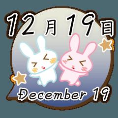 [LINEスタンプ] 12月19日記念日うさぎ