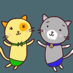クレヨンお絵描きネコ(みぃ&くぅ)